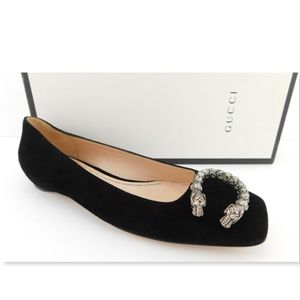 New GUCCI Crystal Tiger Snake Black Suede Flats 35